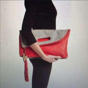 Vince Camino Red/Black Fold Clutch